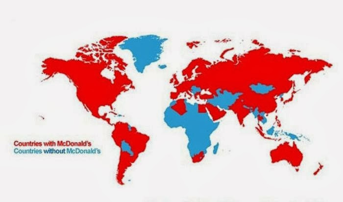 Apparently you can't get Big Macs everywhere.  This map shows (in red) the countries that have McDonalds.
