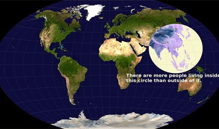 It may not come as a surprise but more people live inside the circle than outside of it.