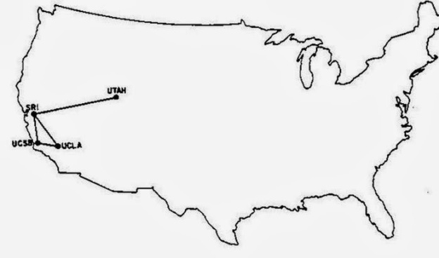 The line in this map shows all of the world's Internet connections in 1969.