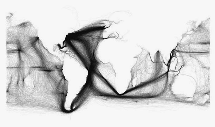 This is a map of 19th century shipping lanes that outlines the continents.