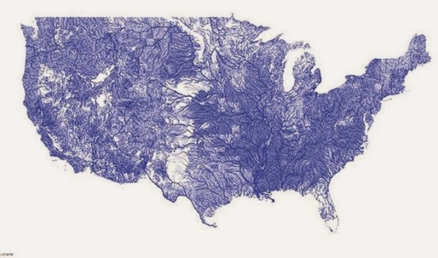 This is a map of the all the rivers in the United States.