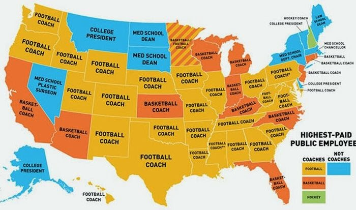 This is a map of the highest paid public employees in the United States.