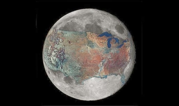 This map shows how much space the United States would occupy on the moon.