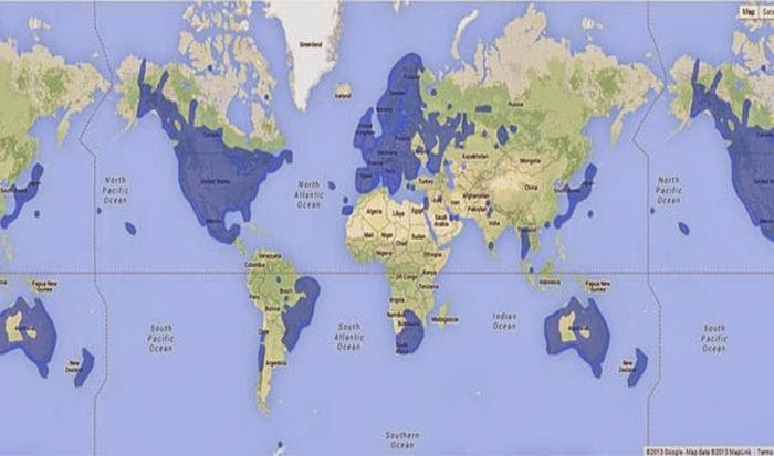 This map shows (in blue) places where Google street view is available.