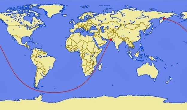 This map shows the longest straight line you can sail.  It goes from Pakistan all the way to Kamchatka Peninsula in Russia for a total of 20,000 miles.