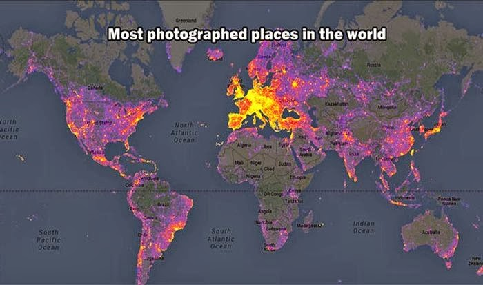 This map shows the most photographed places in the world.