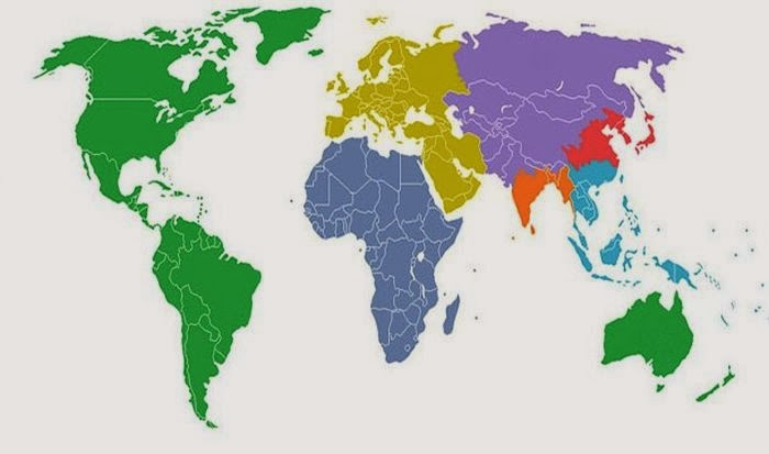 This map shows the world divided into 7 sections (each with a distinct color) with each section containing 1 billion people.