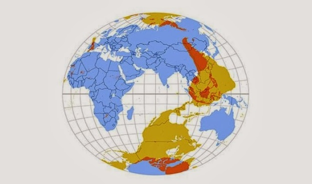 This map shows what is on the other side of the world from where you are standing.  For the most part it will probably be water.