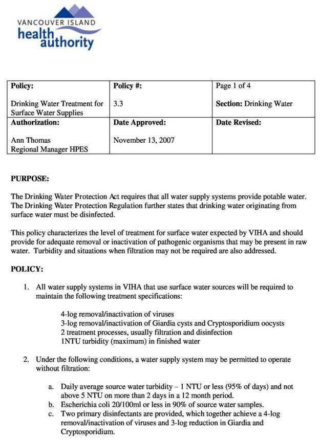 VIHA 4 Log Drinking Water Policy 2007