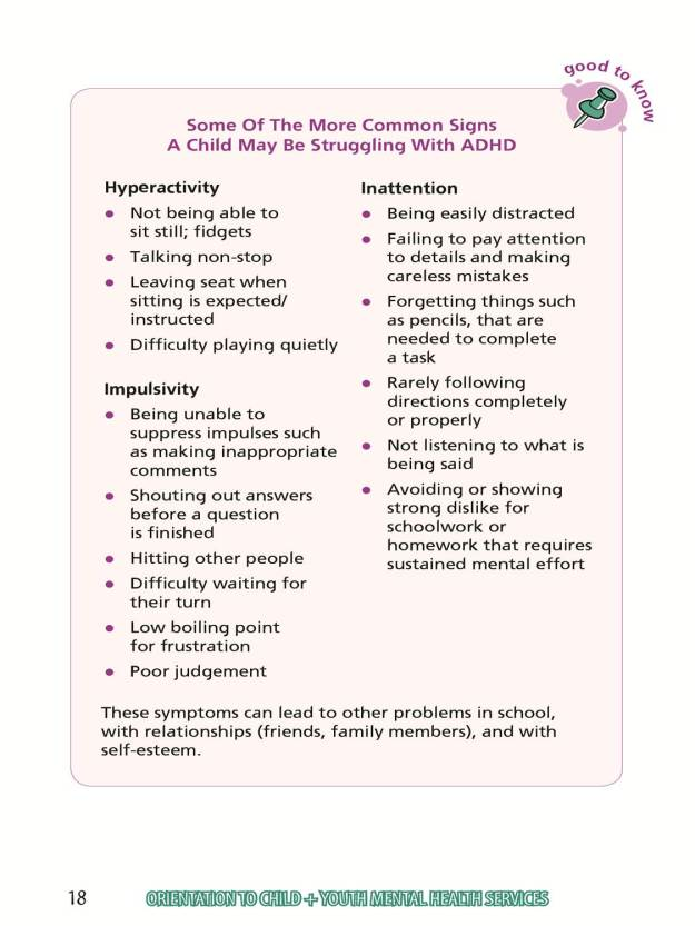 Some Of The More Common Signs A Child May Be Struggling Wtih ADHD